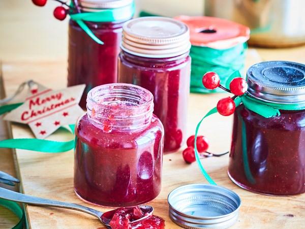 Festive plum and strawberry jam
