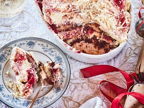 Raspberry and white chocolate tiramisu