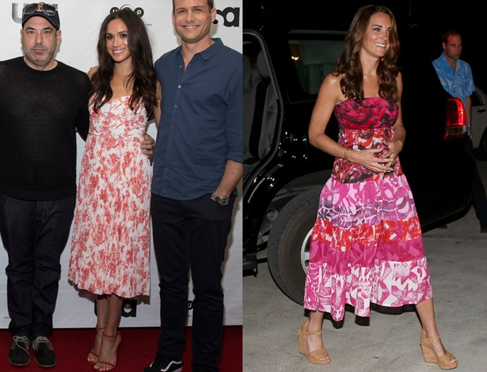 In floral print tea-length dresses with strappy sandals and loose waves.