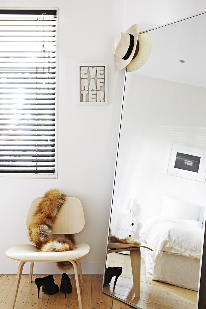A large lean against the wall mirror can really expand the sense of space in a room. Photo: Armelle Habib