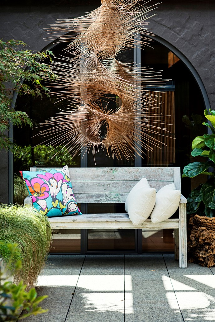 Another reed sculpture by Sydney-based architect Tracey Depp adds a sense of kinetic energy to the space.