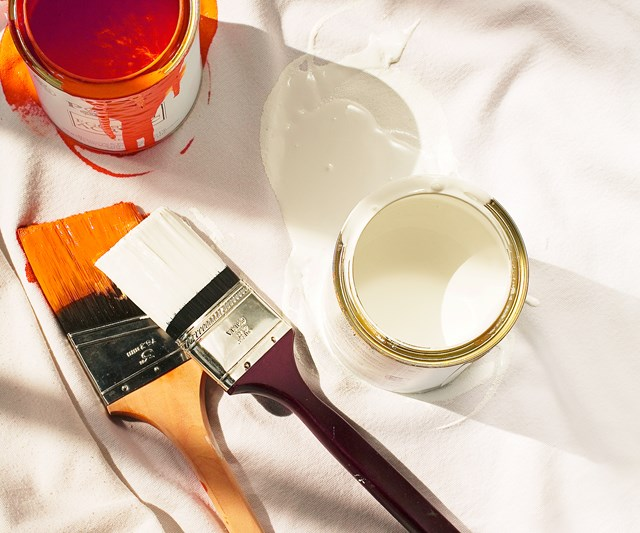 Paint tins and brushes