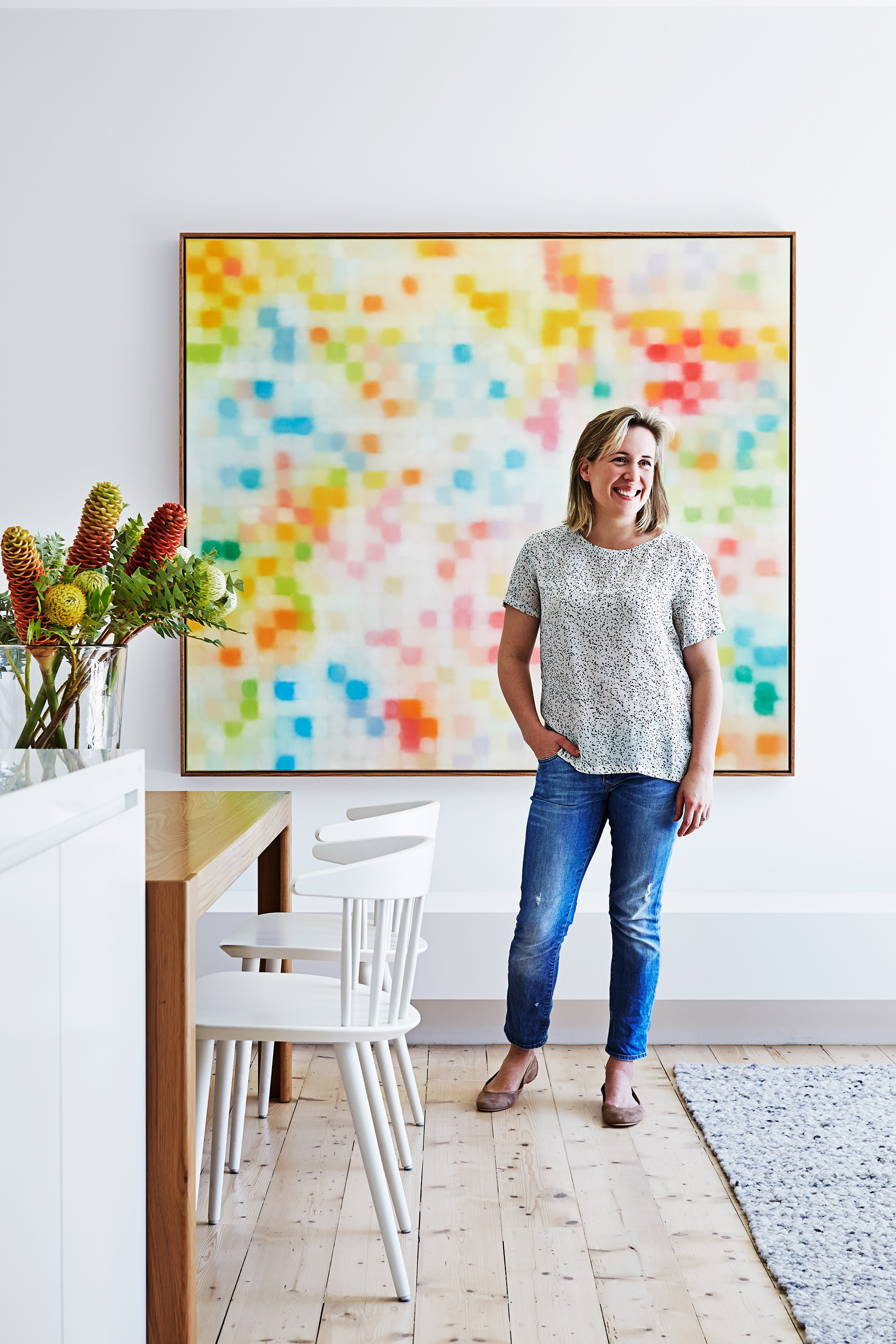 """""""We love where we live,"""" says owner Penny Cohen of her home's Melbourne inner location. """"There are great parks and restaurants while still being close to the city and my work."""" The artwork is by Matthew Johnson.   For similar **flooring**, try Pine in Brushed White Oil, (2.48m x 18cm) from [Mafi](http://www.mafi.com.au/