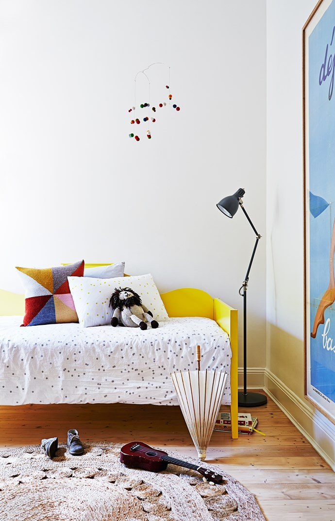 "The Daffodil daybed from [Lilly & Lolly](http://www.lillyandlolly.com.au/|target=""_blank"") was customised in Dulux Fluffy Duckling. The Aröd floor lamp is from [Ikea](http://www.ikea.com.au/