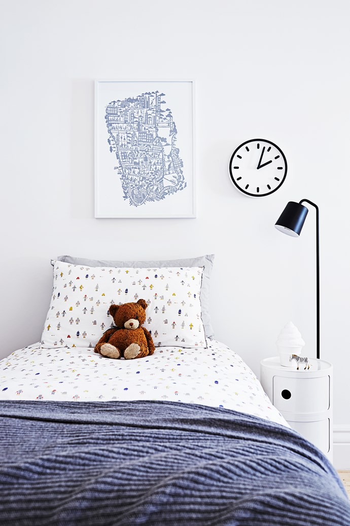 "Sam's super cute bedroom was previously the living room.   **Floor lamp** from [Luke Furniture](http://www.luke.com.au/|target=""_blank"") and Tempo **wall clock** from [Cult](http://www.cultdesign.com.au/