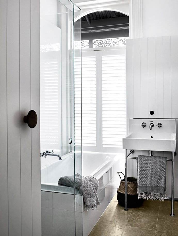 "A former box room was given a new lease of life when it was transformed into a beautiful bathroom in this grand Victorian terrace. ""We kept the period features and used them to enhance what we brought to the space,"" Steven Whiting of Whiting Architects says. ""The taps and finishes are modern, but pay tribute to their surroundings.""   Kaldewei Centro Duo Avantgarde **bath**, Duravit Vero washbasin 045360 and Astra Walker Icon+ A67.05 **tapware** from [Mary Noall](http://www.marynoall.com.au/