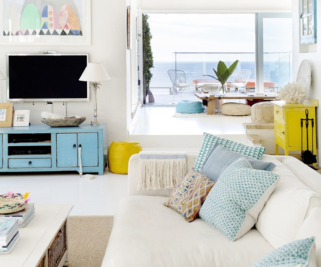 Moroccan-inspired beach living room