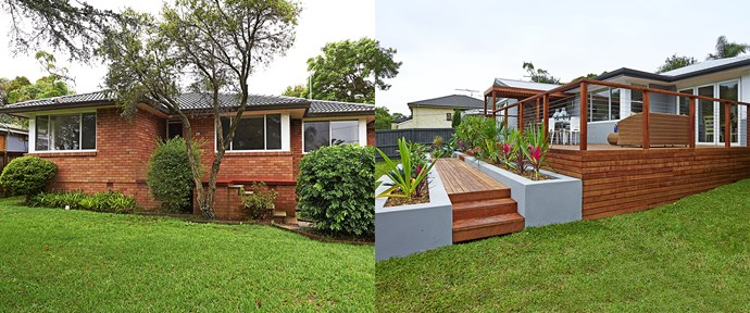 **BEFORE AND AFTER:** The original red brick walls looked outdated and while the garden was green and lush, it lacked an element of interest and colour. The new timber deck provides an extra space for entertaining or relaxing. Raised brick garden beds in front of the deck provide a sense of entrance.