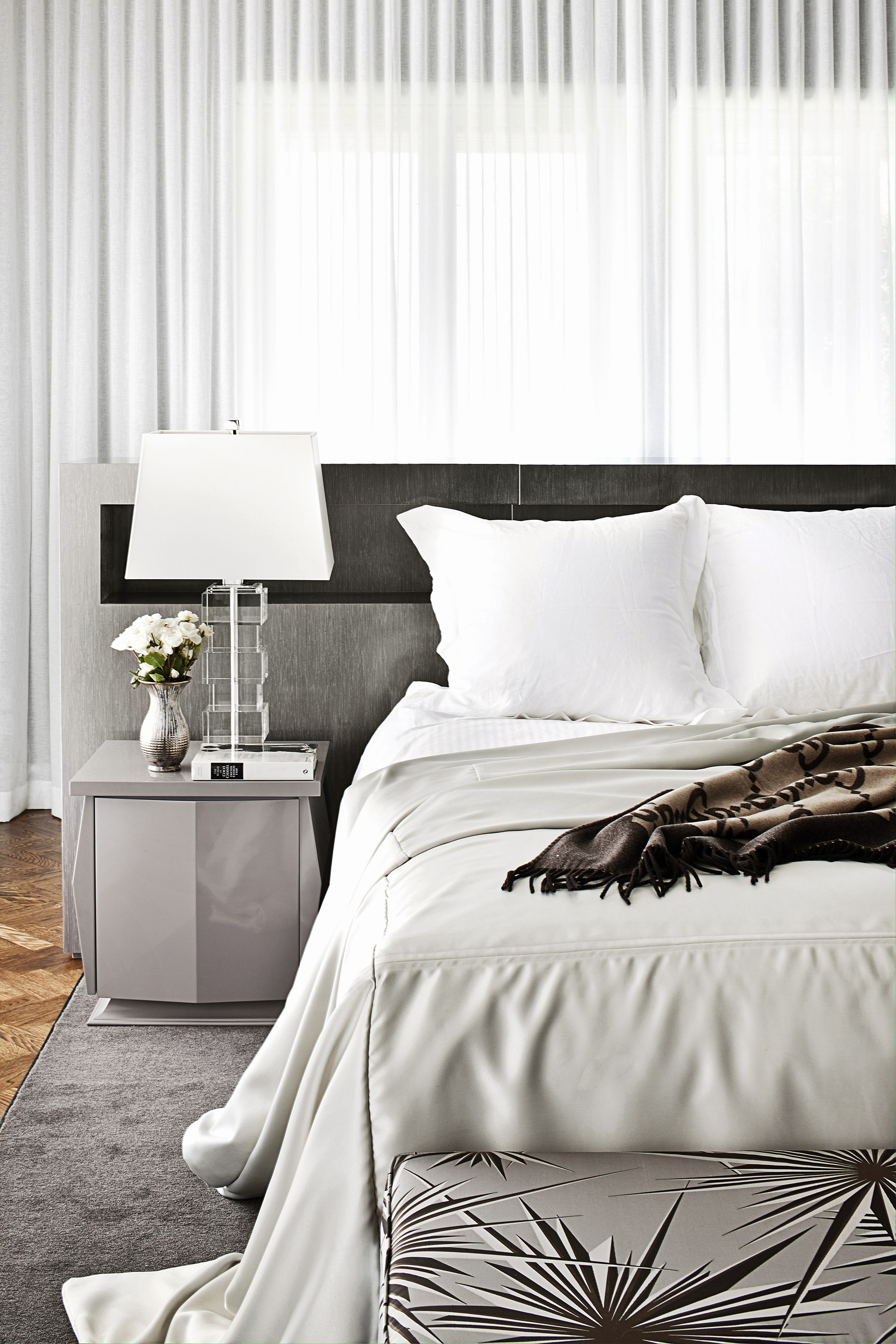 As seen in this [sophisticated Melbourne abode](http://www.homestolove.com.au/sophisticated-living-in-a-melbourne-family-home-1855), fifty shades of grey is in fact a soothing way to decorate the bedroom. *Photo: Shannon McGrath*