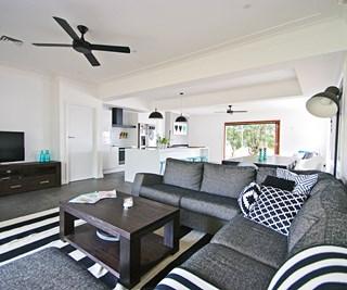 Monochrome open plan living room