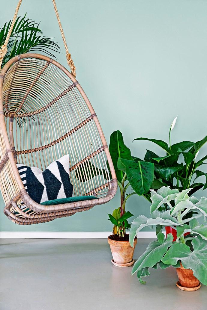 "Renoir Sika Design **hanging chair**, [Domo](http://www.domo.com.au/|target=""_blank""). **Cushion**, [Ferm Living](http://fermliving.com.au/|target=""_blank"")."