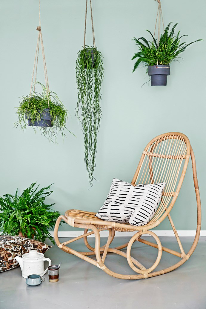 "**Suspended flower pots** from [Ferm Living](http://fermliving.com.au/|target=""_blank""). Rattan **rocking chair** by Sika Design, from [Domo](http://www.domo.com.au/