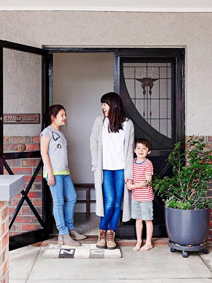 """I love these beautiful original doors we painted in gloss black,"" Karling says."