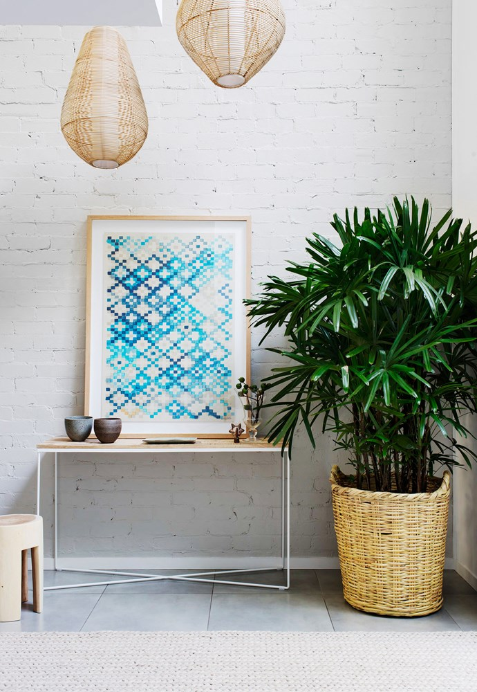 """The entry is an introduction to the whole scheme,"" says designer Andrew. It's interplay of the textures, patterns, colours and materials used throughout the house.   **Pendants** and **stool** from [Julie Lewis Agency](http://www.julielewisagency.net/?utm_campaign=supplier/