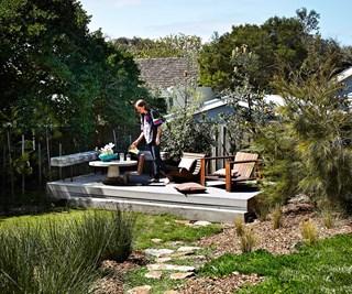 A coastal garden with deck
