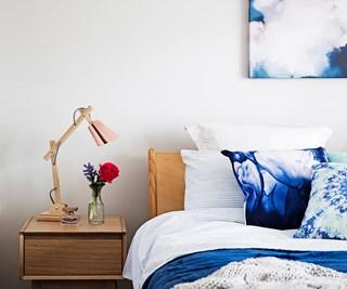 blue budget bedroom makeover