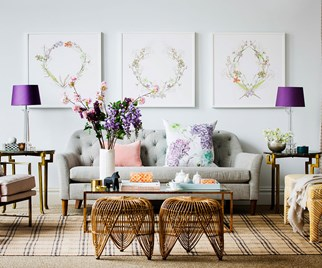 Living room with floral framed prints
