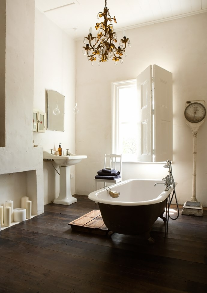The decadent bathroom in Lynda Gardner's The White House. Photo: Tim James Photography