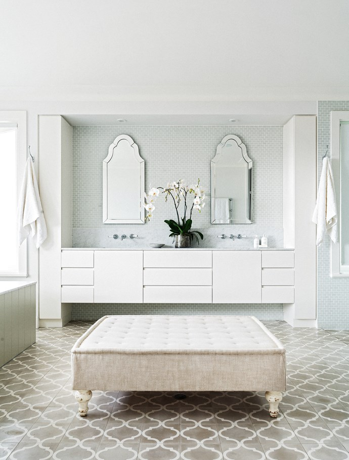 "The ensuite is one of the owner's favourite spaces in the house. **Ottoman** from [The Country Trader](http://www.thecountrytrader.com.au/?utm_campaign=supplier/|target=""_blank""). 'Arabesque' reproduction cement tiles in Pale Grey/Milk from [Jatana Interiors](http://www.jatanainteriors.com.au/?utm_campaign=supplier/