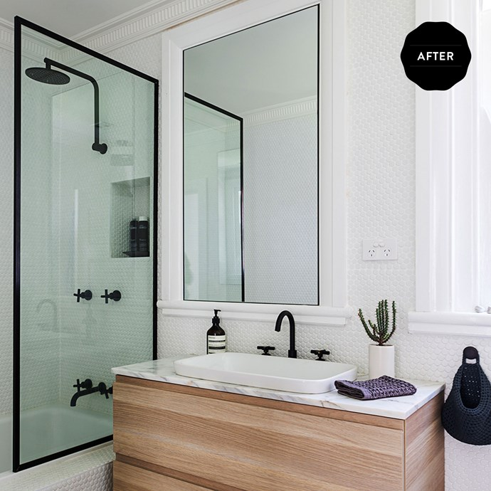"Now, if Chloe had to pick a favourite room, she says the renovated bathroom would have to be it. ""It marries all my favourite design elements: tones, textures and clean lines.""  **Tiles** from [Surface Gallery](http://surfacegallery.com.au/?utm_campaign=supplier/
