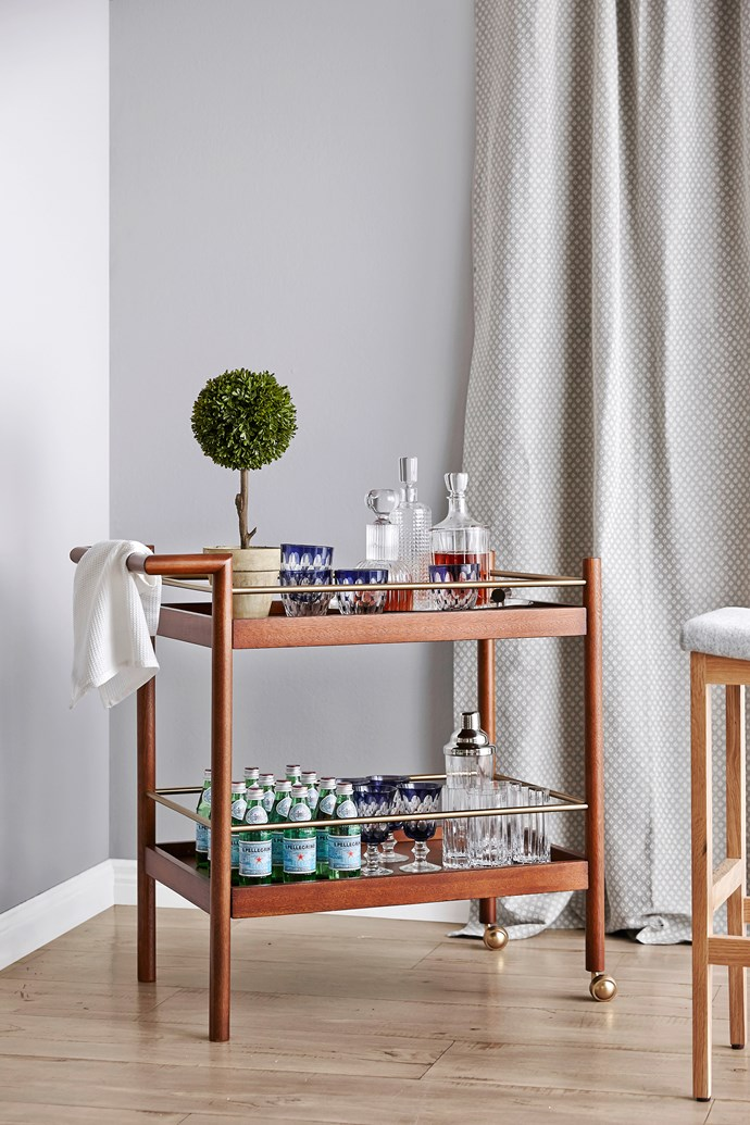 "**Trolleys:**  Mid-Century walnut-veneer bar cart, $499 from [West Elm](http://www.westelm.com.au/?utm_campaign=supplier/|target=""_blank"")."