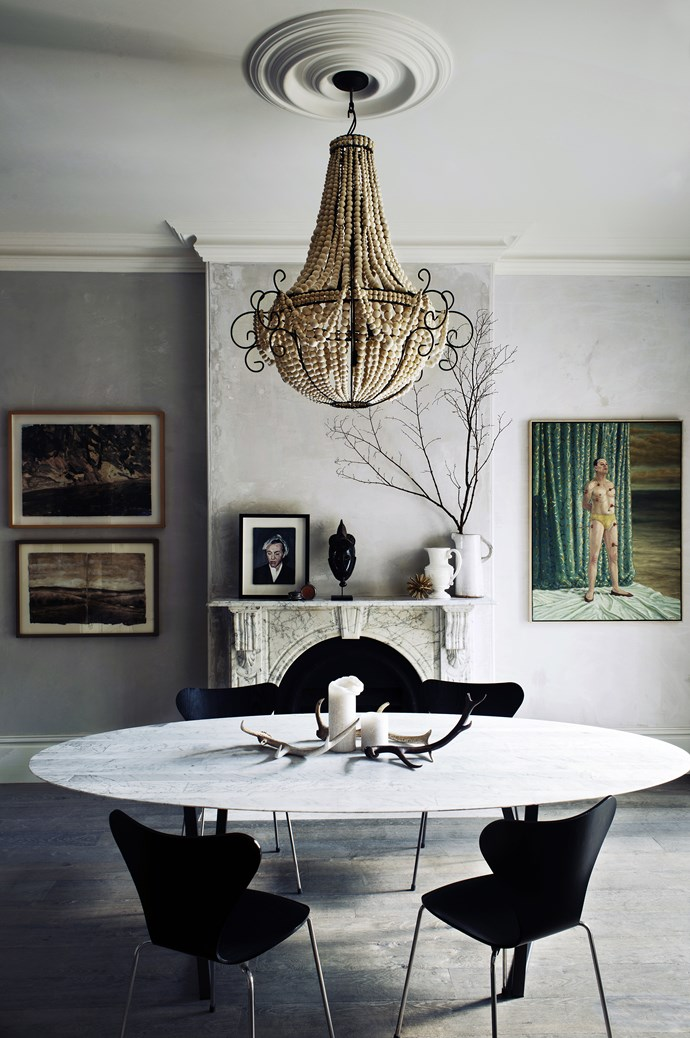 """This is a special Australian terrace – one of the six grand old terraces of Paddington,"" says homeowner Penny. ""It is in an amazing location, with a 6.5-metre frontage in a densely populated part of Sydney."" A recycled clay **chandelier** made to order from [The Design Hunter](http://www.thedesignhunter.com.au/?utm_campaign=supplier/