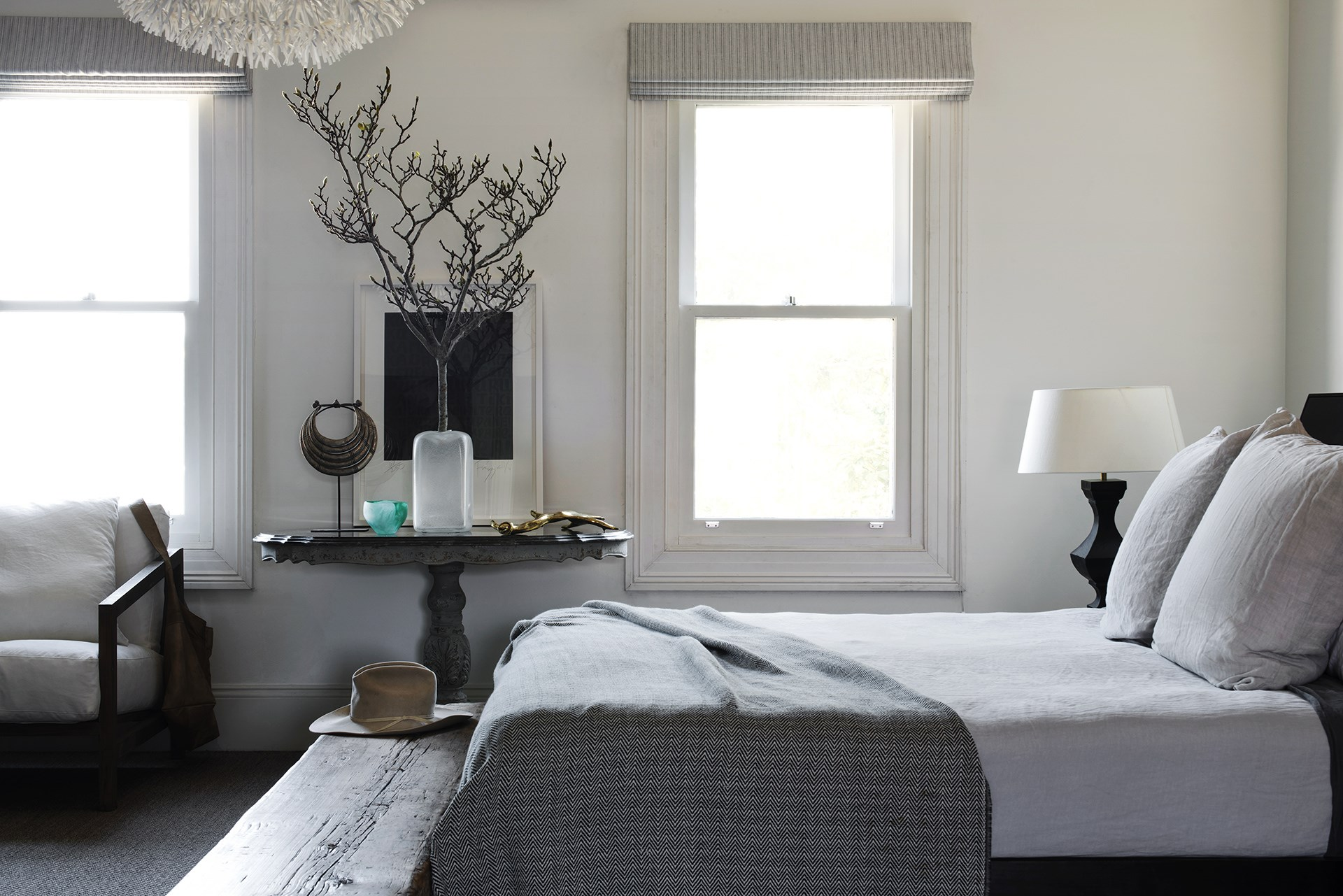 A reference to nature, such as a sculptural tree branch, is a good choice for the moody master bedroom within this [heritage-listed Paddington terrace](http://www.homestolove.com.au/pennys-paddington-terrace-renovation-2462). *Photo: Nicholas Watt*
