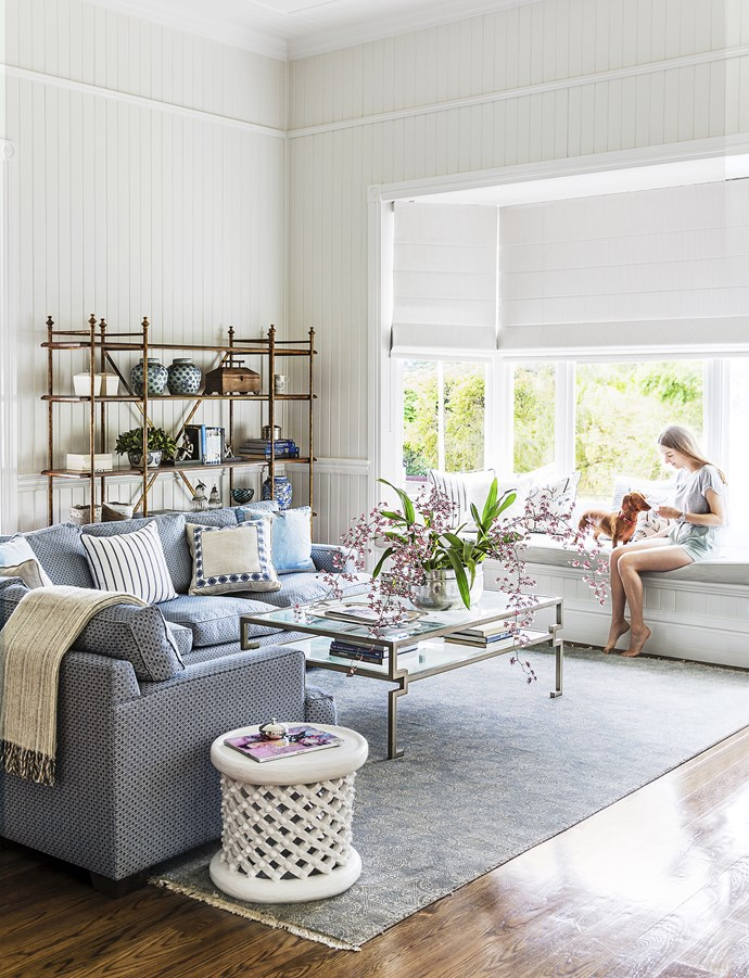 """""""A white home needs texture, layers, detailing and [points of] interest to make it work,"""" says Leigh. Cue drapes in sumptuous fabrics, patterned rugs and rich timber in varying tones for floors, joinery and occasional pieces."""