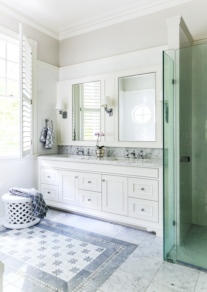"""The inlaid tile 'rug' was a must-have for Mary Jo. SICIS Quiris 2 **floor tiles** from [Elite Bathware & Tiles](http://www.elitebathware.com.au/?utm_campaign=supplier/