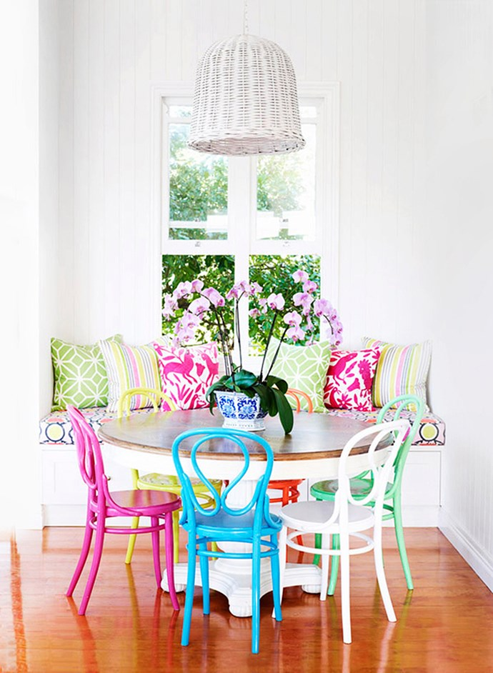 "Embrace colour to create a cheery and casual dining space. Anna Spiro of [Black & Spiro](http://www.blackandspiro.com.au//?utm_campaign=supplier/|target=""_blank"") Interior Design shows how it's done in this Brisbane home, which belongs to a colour-loving young family. ""We had limited space, so I opted for a bench seat with storage beneath and mismatched chairs for a bit of fun"" says Spiro. Photo: Derek Swalwell 
