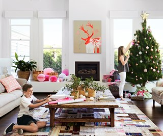 Christmas styled cottage living room