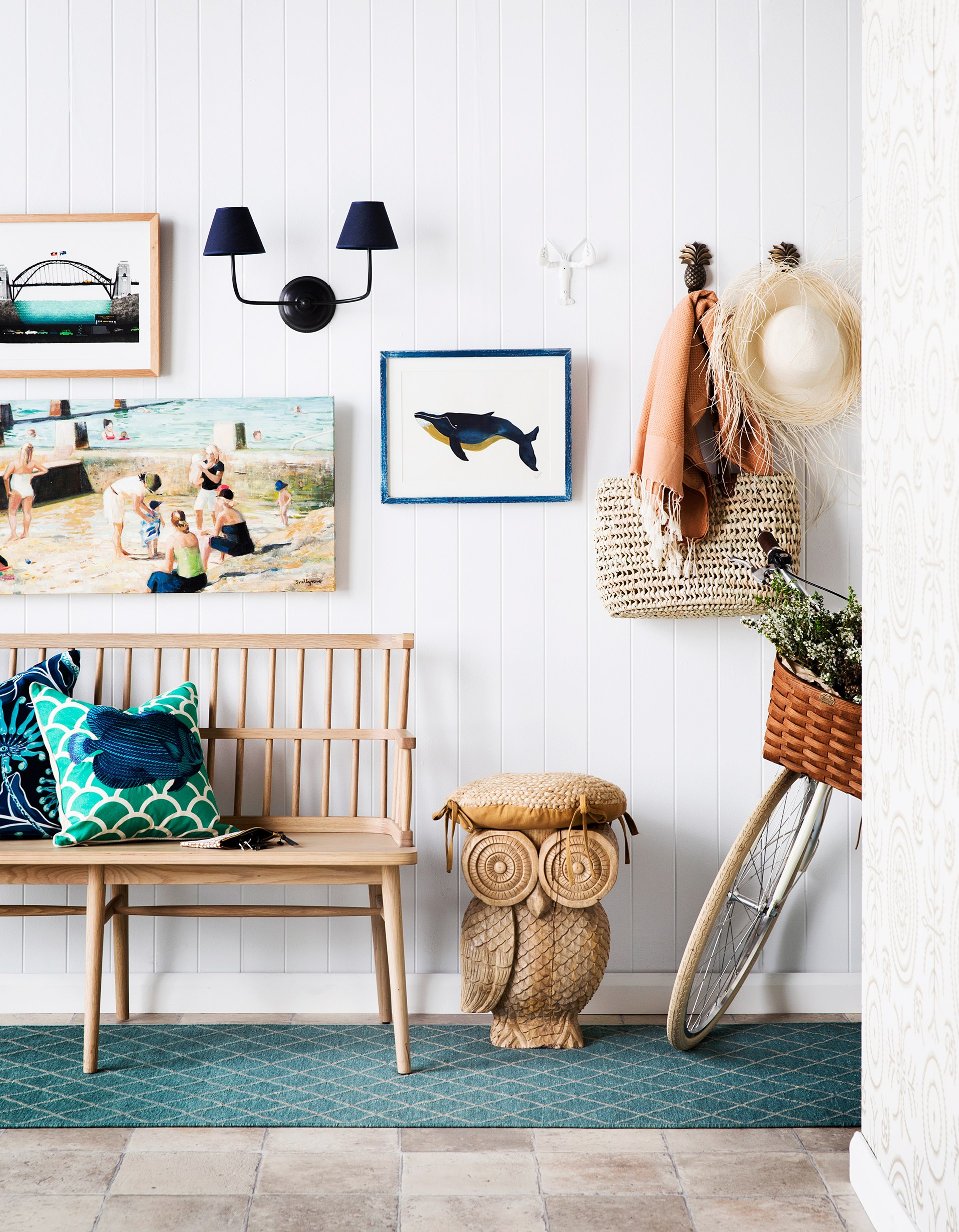 "**ON WALL FROM LEFT** Alphabetic Sydney 'H for Harbour Bridge' **print**, $120, [Koskela]( http://www.koskela.com.au/ /?utm_campaign=supplier/|target=""_blank""). Coogee Mothers by Alex Snellgrove **artwork**, $1800, Art2Muse Gallery. Visual Comfort & Co Vendome bronze **double sconce**, $720, [Laura Kincade](http://www.laurakincade.com/store//?utm_campaign=supplier/