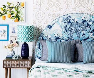 Seaside styling: a mix of wicker, wood, pattern and print