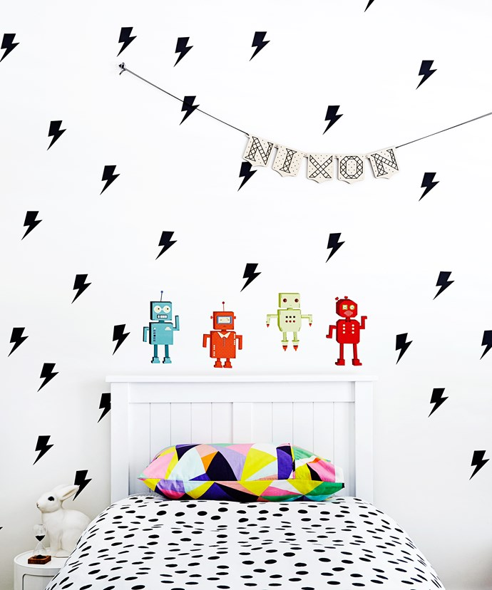 """Nixon loves his lightning bolt-stickers on his bedroom wall. They were found online, while the robot stickers came from [The Design Court](http://www.designcourt.com.au/?utm_campaign=supplier/