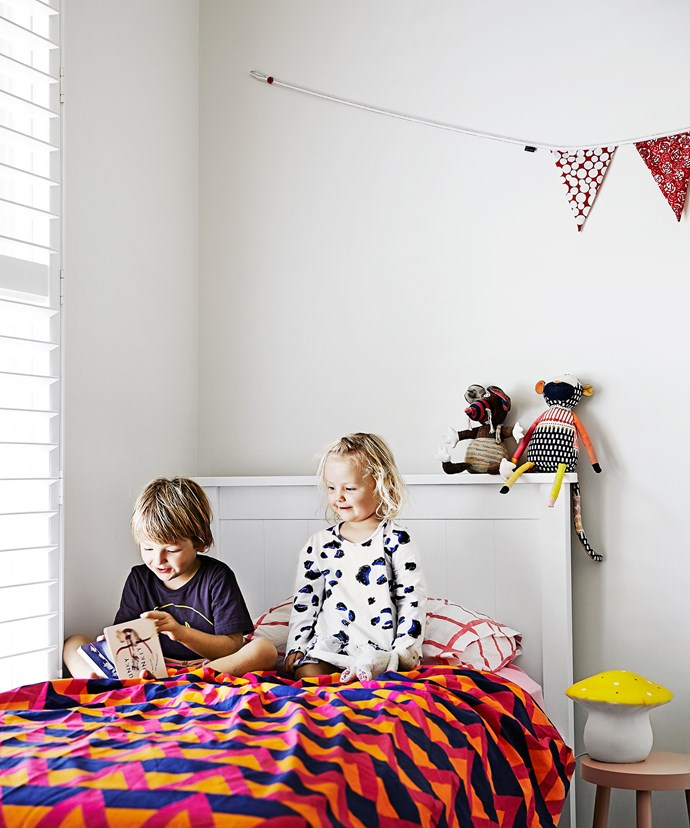 """Maelle's bright and cheery bedroom is a great spot for the brother and sister to read together. Bed from [Snooze](http://www.snooze.com.au/?utm_campaign=supplier/