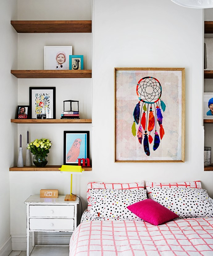 """The simple monochrome palette provides the perfect neutral backdrop for Johanna to add details of colour. """"I've always been drawn to colour and artistic expression and I love adding bright pops to a house to make it feel like a home,"""" she says."""
