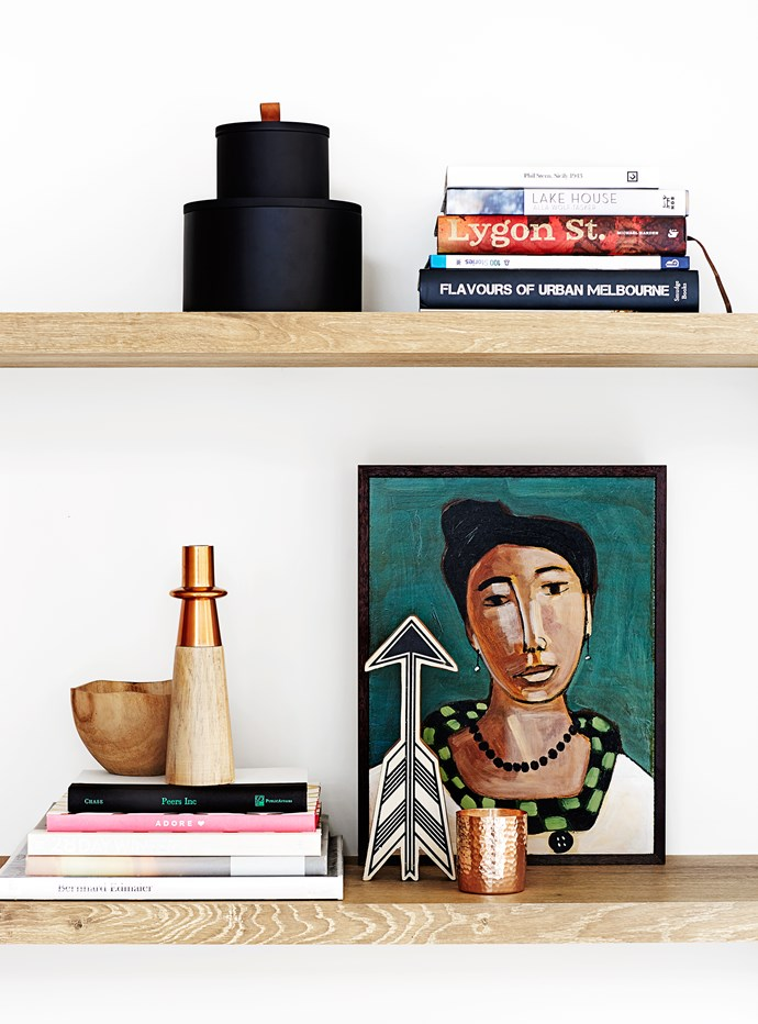 Shelf life A few of Johanna's fave pieces are displayed on shelves in the dining area, including a John Baird painting.