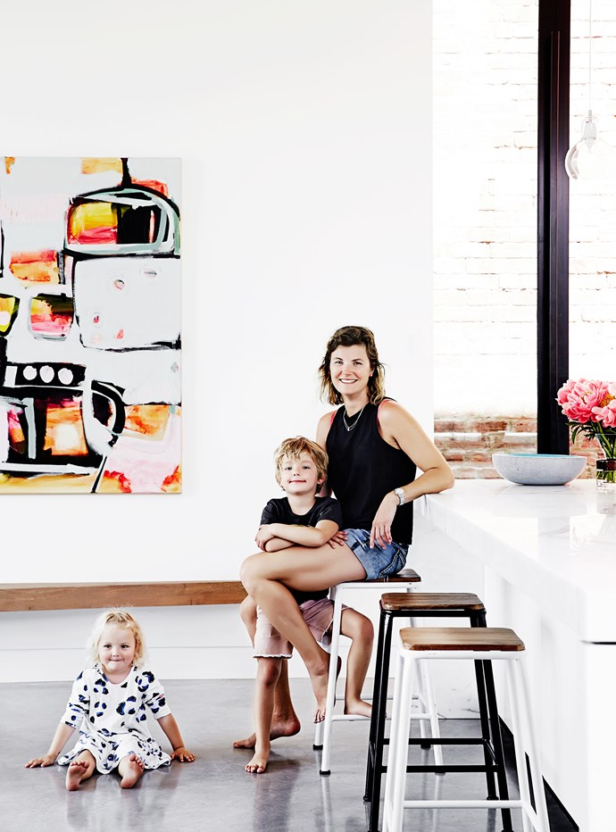 """Johanna in the kitchen with her two kids, Nixon 5, and Maelle, 3. """"I desperately wanted this house,"""" she says. """"I had visited it five times and just knew we could turn it into a beautiful family home."""""""
