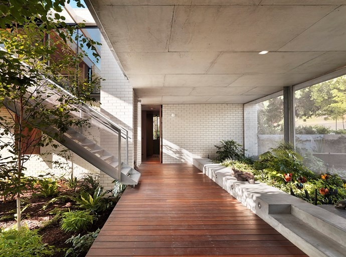 "This Apartment House in Melbourne's Toorak was designed by Kerstin for clients who embraced the notion of elevated, one-level living. ""I designed a house in a U-shape with a central courtyard where the planting on the ground floor level, by landscape designer Fiona Brockhoff, is drawn up to provide greenery in the main living space,"" says Kerstin. There is also a self-contained flat for guests or, perhaps in the fullness of time, a carer."