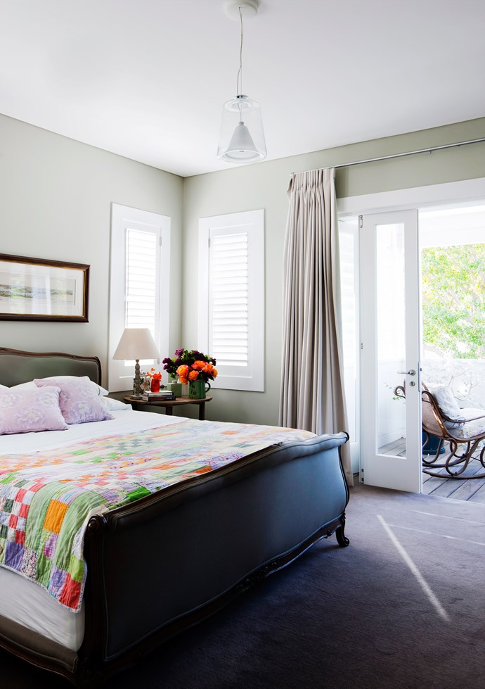 """Upstairs, the layout was flipped, with the main bedroom and ensuite shifted to the extension, with views over the garden. """"I would like to spend time on our upstairs verandah reading a book,"""" says Jane. """"With three children around, it just doesn't happen!"""""""