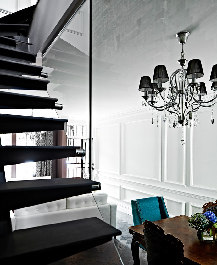 Despite the airy appearance of the custom steel staircase, each tread weighs 100kg.
