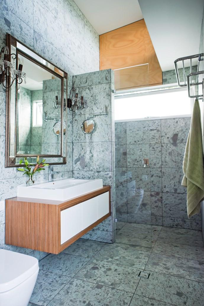 "The eye-catching tiles, from [Balistones](http://www.balistone.com.au/?utm_campaign=supplier/|target=""_blank"") in Bali, give a luxurious look to the ensuite."