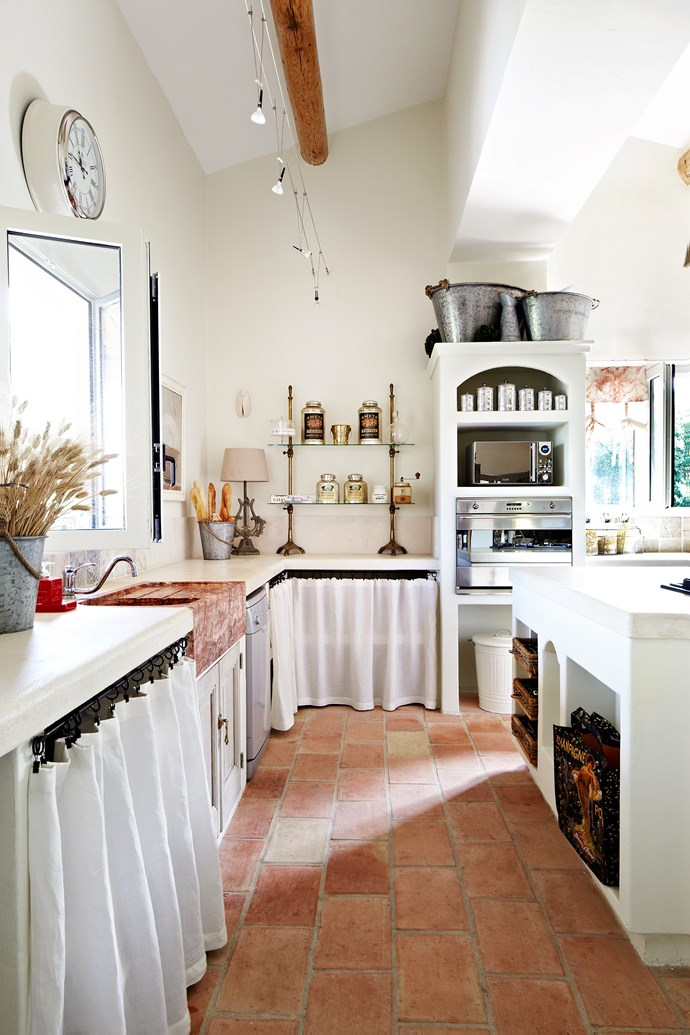 "Provence style is as much about architecture and the building as decor, says Elly. ""Typical of the Provence style is the elaborate use of stone, high ceilings with large round timber beams, terracotta or limestone tiled floors and lavender-coloured shutters on the doors and windows,"" she says."