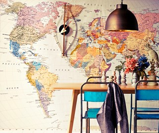 travel-themed dining room