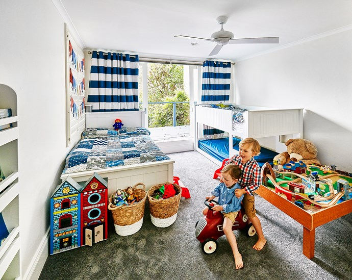 Archie and Monty have plenty of play space in their 'boys room', plus a spare bed for a mate.