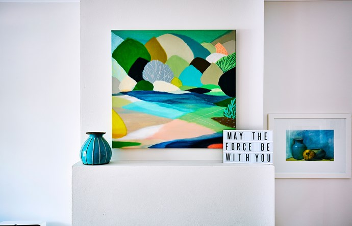 """""""By nature I avoid clutter, but I lust after a house full of eclectic and creative elements, making it feel more homely,"""" says Kirsty. The abstract landscape by [Belynda Henry](http://www.belyndahenry.com/