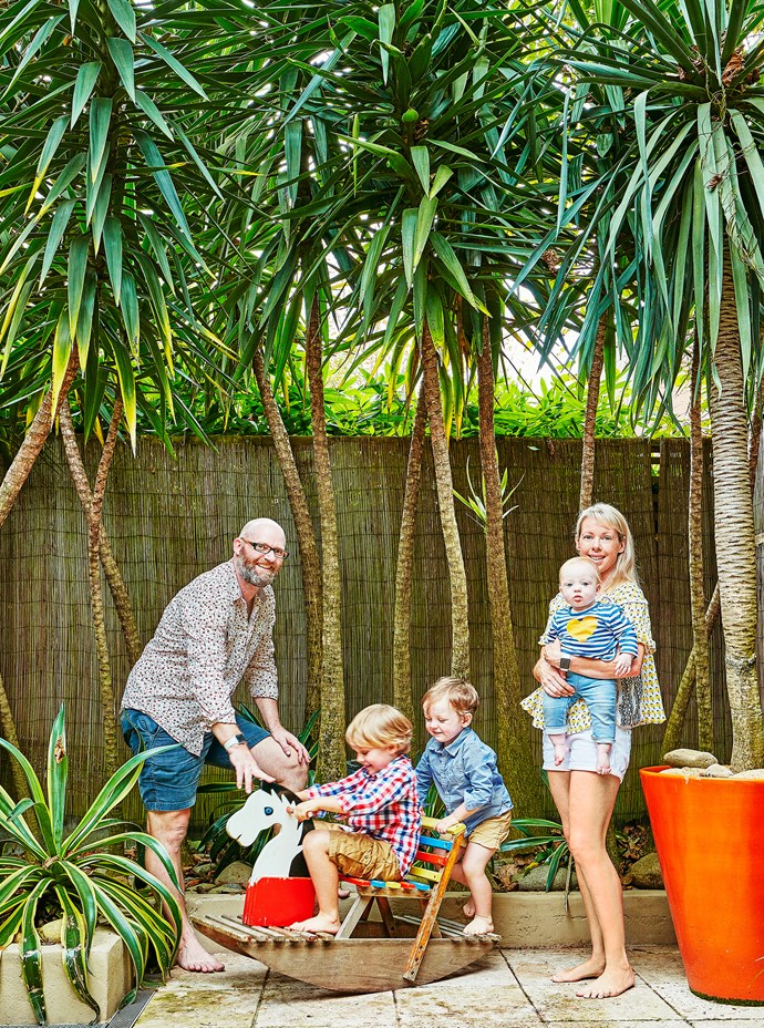 David, Archie, Monty, Daisy and Kirsty love the tropical style of their garden, especially the privacy provided by the screening trees.