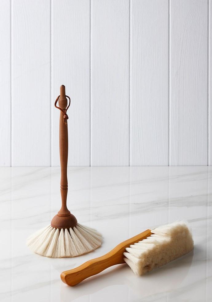 "From left: light hand brush with horse hair bristles, Koskela. Redecker duster with goat hair bristles, [Saison](https://www.saison.com.au|target=""_blank"")."