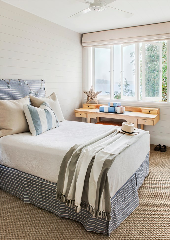 The palette of white, soft greys and coastal blue brings instant relaxation.