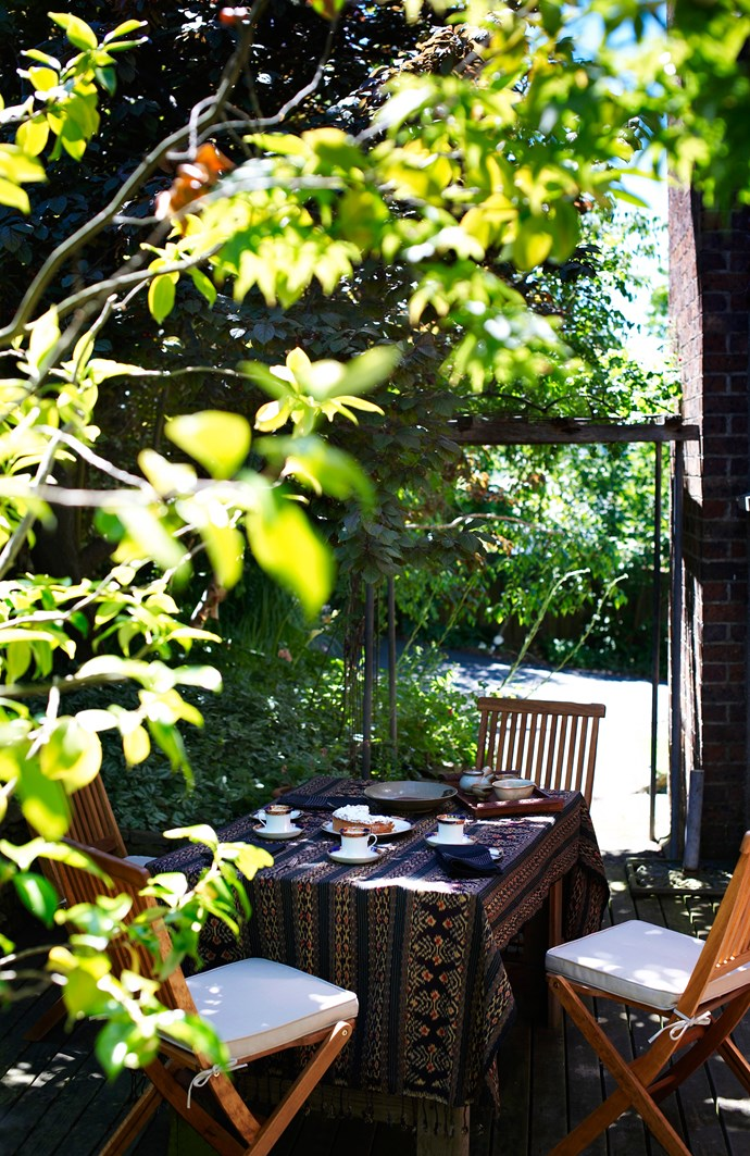 Located next to the house, just off the dining room, this decked area is a favourite spot for afternoon tea in the summer months.